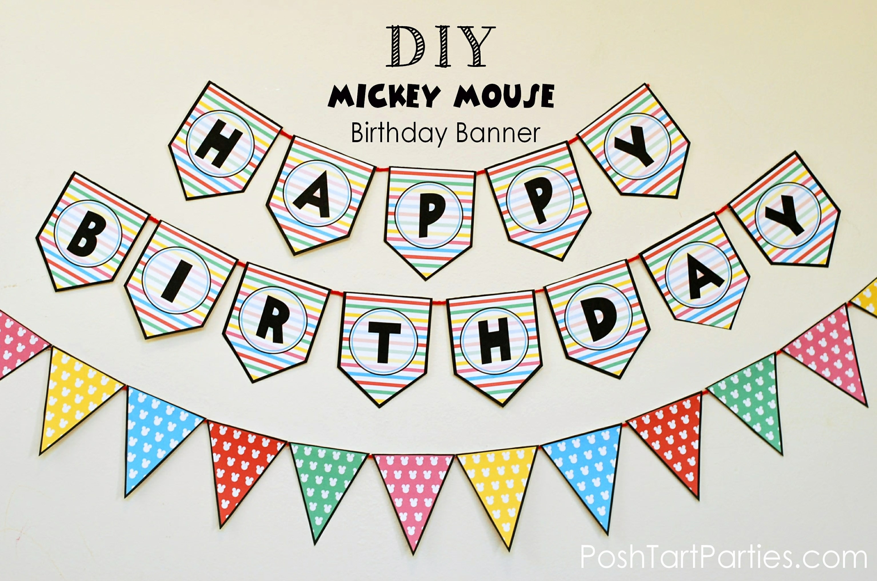 Happy Birthday Banner Template Printable Fresh A Mickey and Minnie Mouse Party – Free Printable Happy