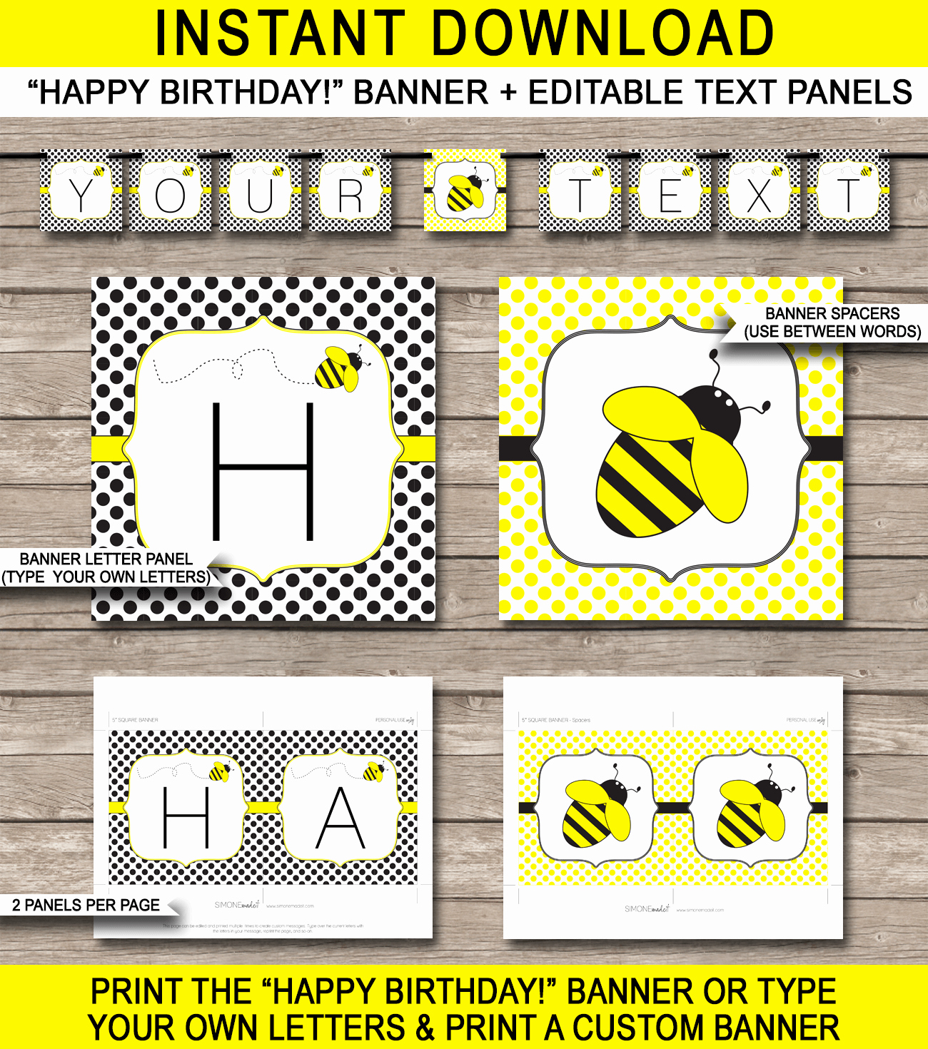 Happy Birthday Banner Template Printable Lovely Bee Party Banner Template