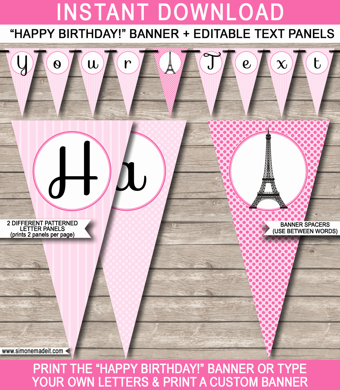 Happy Birthday Banner Template Printable Lovely Paris Party Banner Template