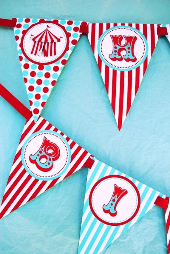 Happy Birthday Banner with Name Awesome Carnival Circus Happy Birthday Banner by Gwynnwassondesigns