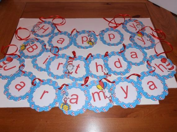 Happy Birthday Banner with Name Awesome Dr Seuss Happy Birthday Banner with Name by Lainescreations