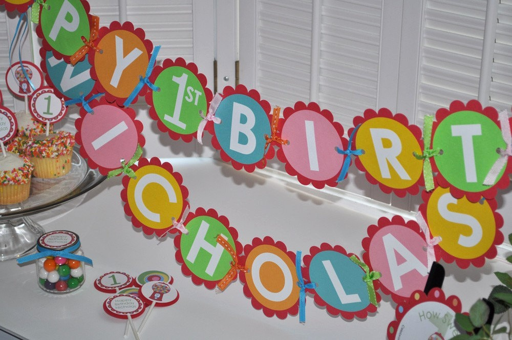 Happy Birthday Banner with Name Fresh Happy 1st Birthday Banner Custom Name Red Blue Green