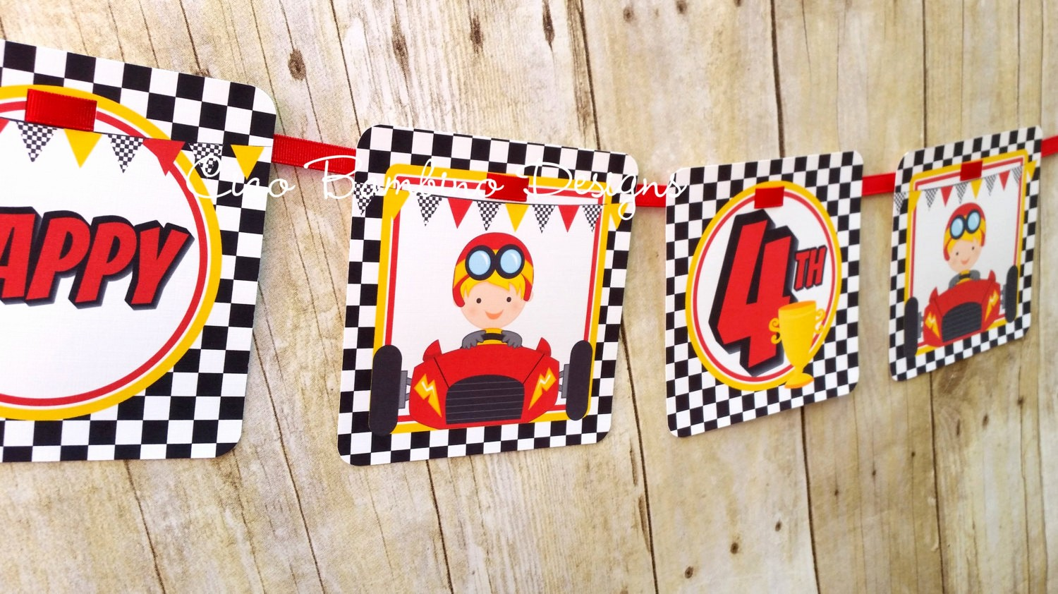Happy Birthday Banner with Name Lovely Race Car Happy Birthday Banner Personalized with Name and