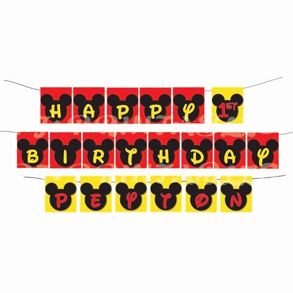 Happy Birthday Banner with Name Luxury Happy Birthday Mickey Mouse themed Banner with Name Custom