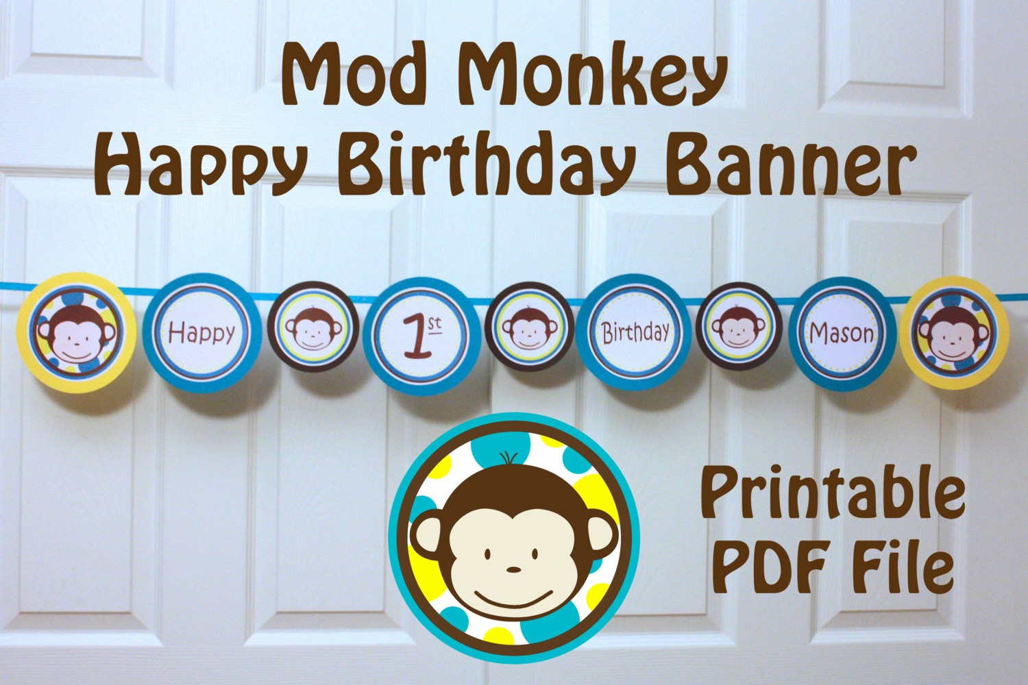 Happy Birthday Banner with Name Unique Mod Monkey Banner Happy 1st Birthday Banner with Name