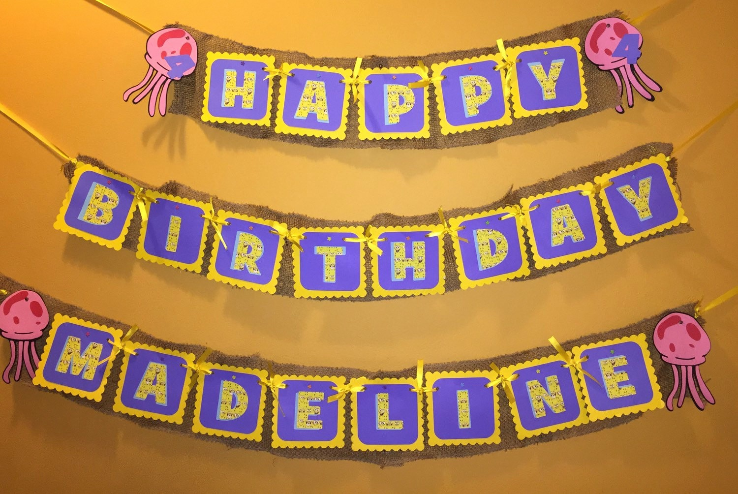 Happy Birthday Banner with Name Unique Spongebob Happy Birthday Name Banner
