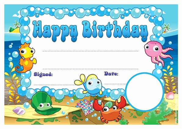 Happy Birthday Certificate Free Printable Beautiful Personalised Certificates for Schools