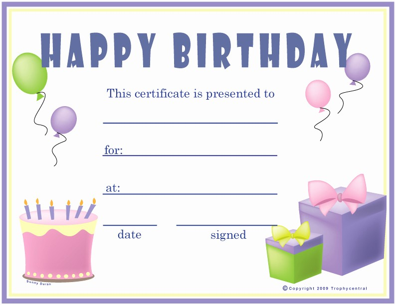 Happy Birthday Certificate Free Printable Best Of 10 Best Of Happy Birthday Printable Gift