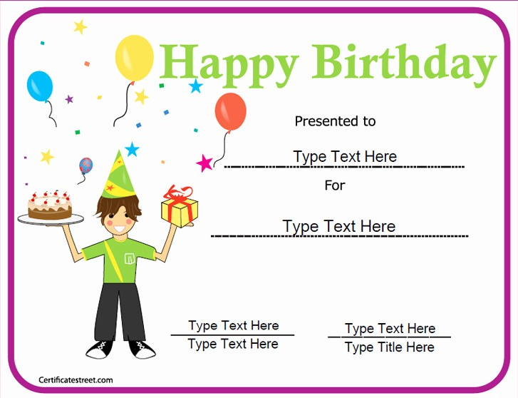 Happy Birthday Certificate Free Printable Elegant Special Certificates Happy Birthday Certificate