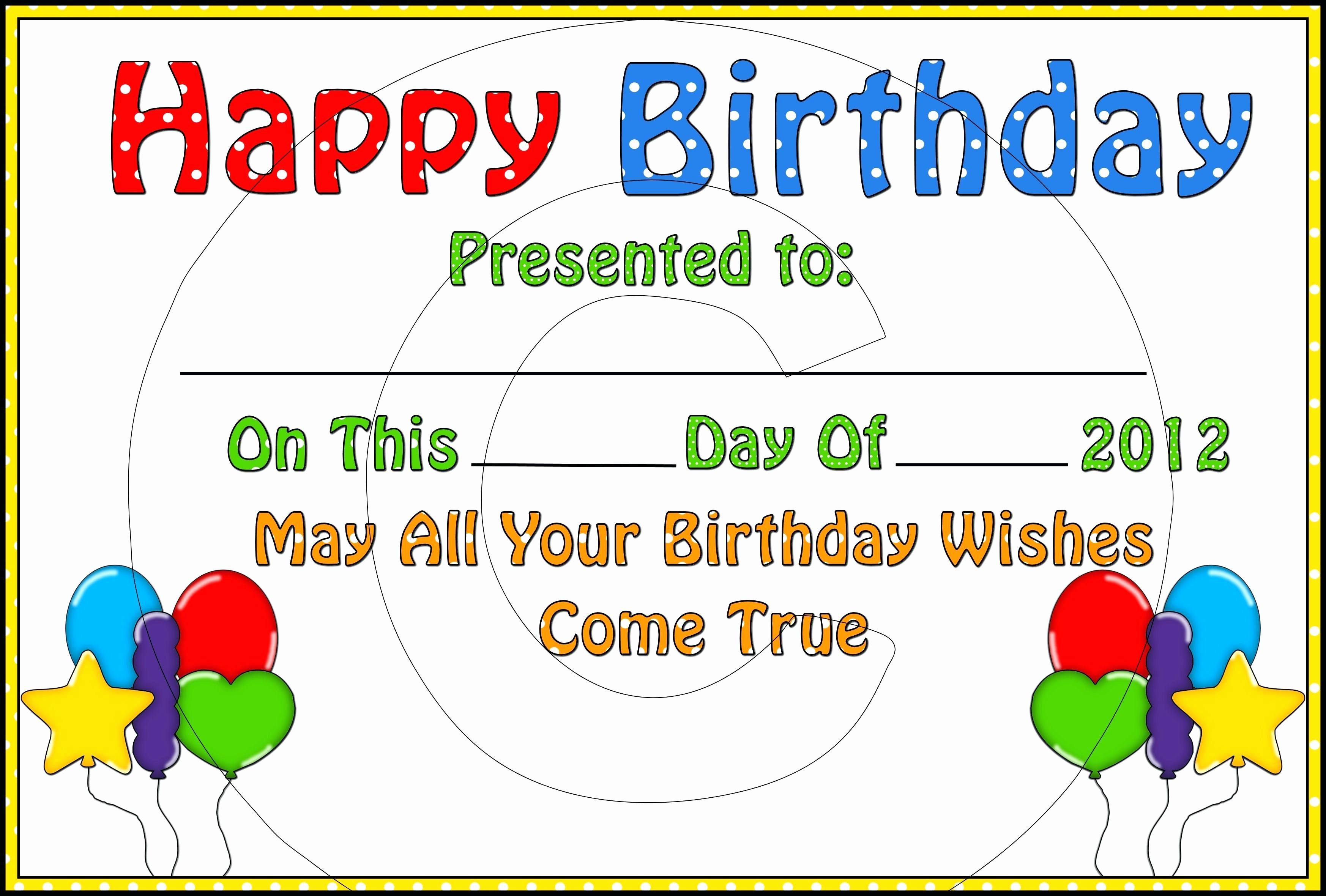 Happy Birthday Certificate Free Printable Luxury Template Happy Birthday Certificate Template