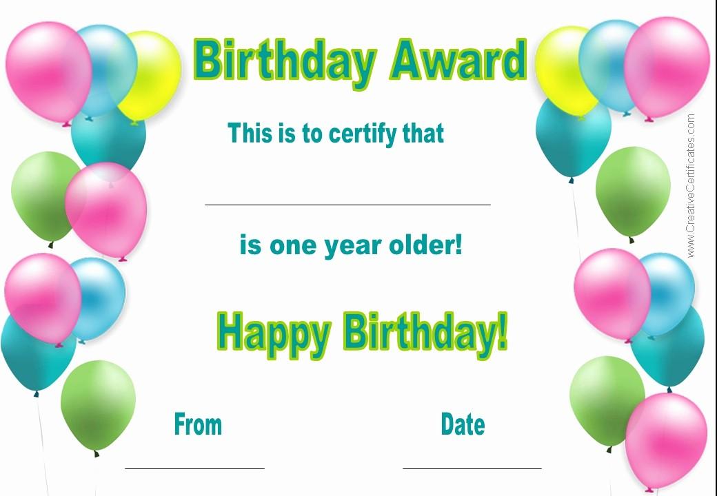 Happy Birthday Certificate Free Printable Unique 7 Best Of Printable Birthday Certificates Happy