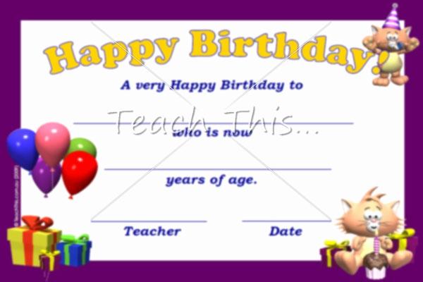 Happy Birthday Certificate Free Printable Unique Happy Birthday Certificate Printable Classroom Student