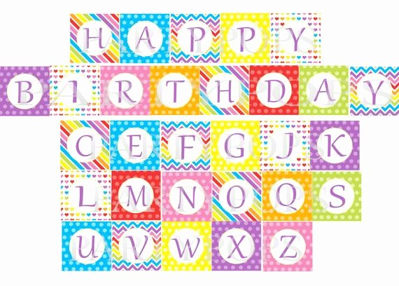 Happy Birthday Letters to Print Awesome Digital Rainbow Happy Birthday Banner Printable Party