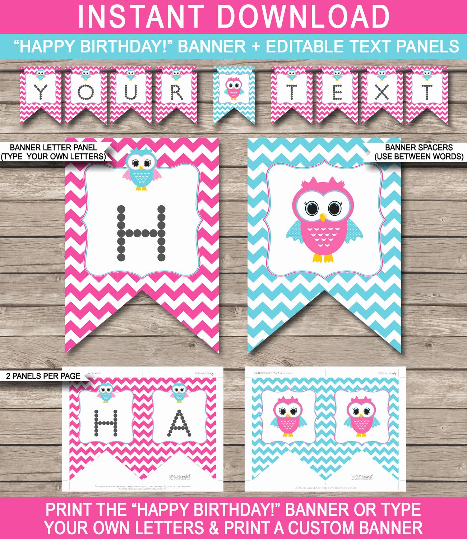 Happy Birthday Letters to Print Elegant Owl Birthday Banner Template Birthday Banner