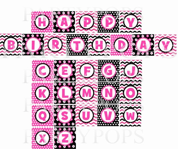 Happy Birthday Letters to Print Inspirational Items Similar to Digital Minnie Mouse Party Happy Birthday