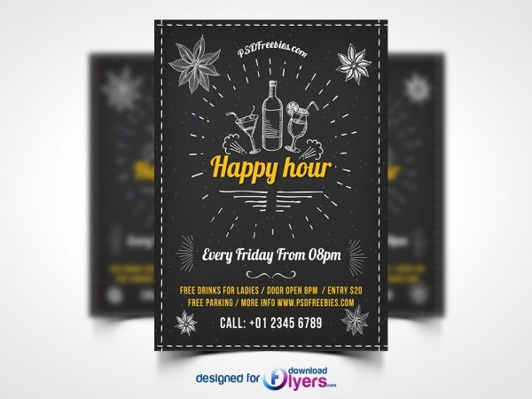 Happy Hour Flyer Template Free Awesome Flyer