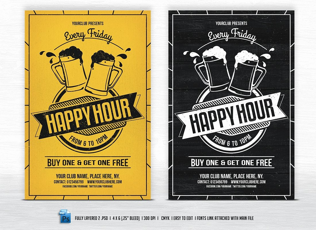 Happy Hour Flyer Template Free Awesome Happy Hour Flyer Templates Flyer Templates Creative Market