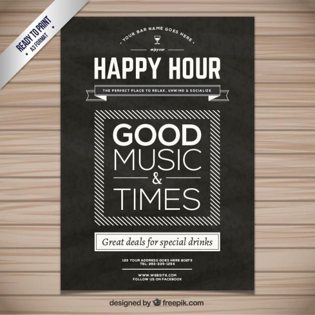Happy Hour Flyer Template Free Awesome Happy Hour Poster Vector