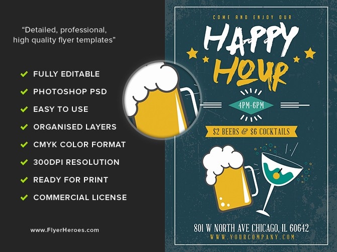 Happy Hour Flyer Template Free Awesome Simple Happy Hour Flyer Template Flyerheroes