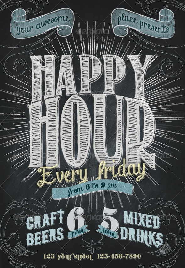 Happy Hour Flyer Template Free Beautiful 20 Cool Chalkboard Flyer Templates Print
