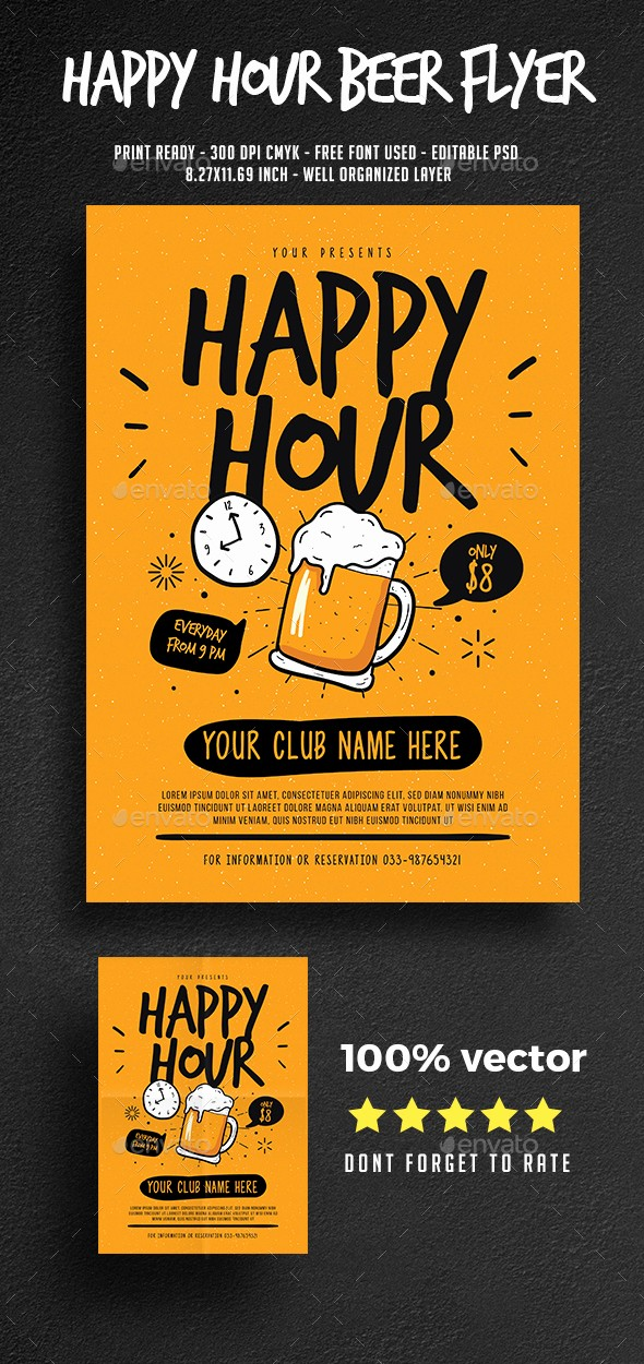 Happy Hour Flyer Template Free Beautiful Happy Hour Beer Flyer by Guper