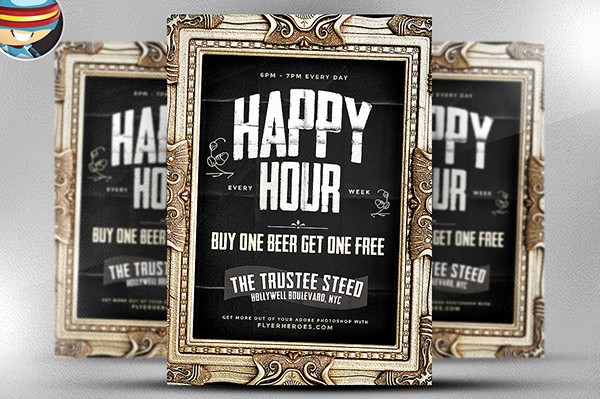 Happy Hour Flyer Template Free Best Of Framed Happy Hour Flyer Template On Behance