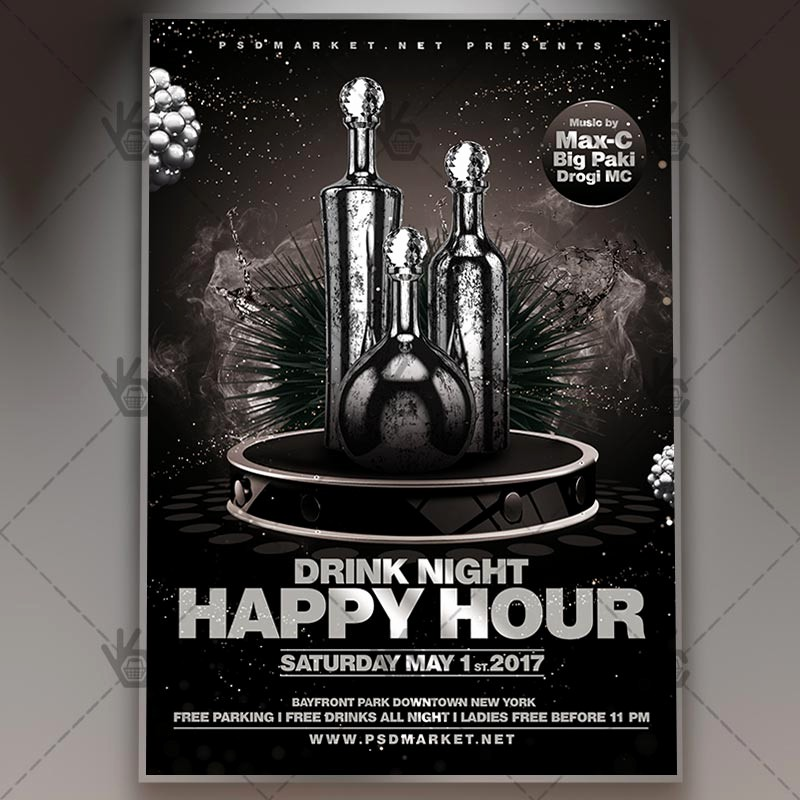 Happy Hour Flyer Template Free Elegant Happy Hour Premium Flyer Psd Template