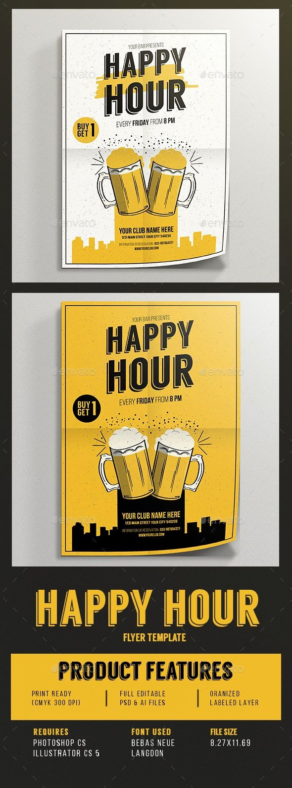 Happy Hour Flyer Template Free Fresh Happy Hour Beer Promotion Flyer Template Psd Vector Ai