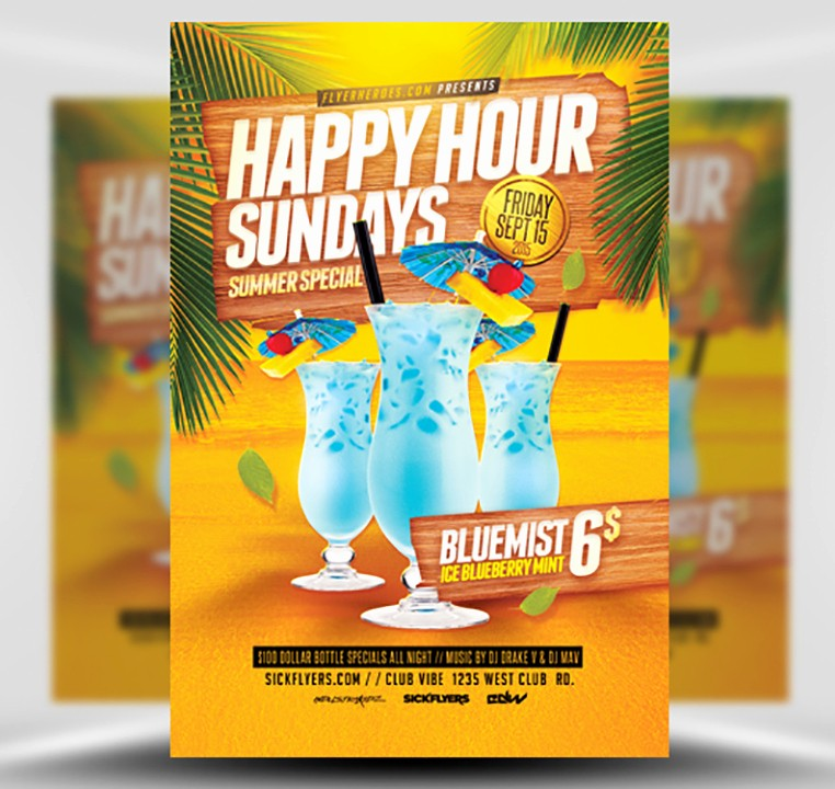 Happy Hour Flyer Template Free Fresh Summer Happy Hour Flyer Template Flyerheroes