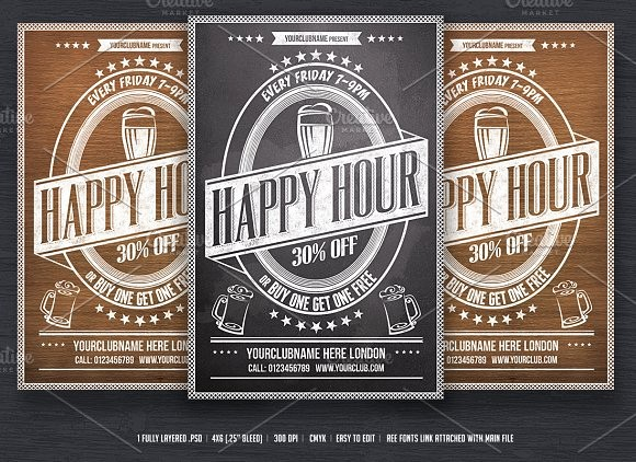 Happy Hour Flyer Template Free Lovely Happy Hour Flyer Template Flyer Templates On Creative Market