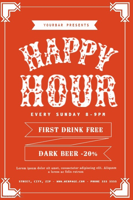 Happy Hour Flyer Template Free Luxury Free Happy Hour Flyer Template
