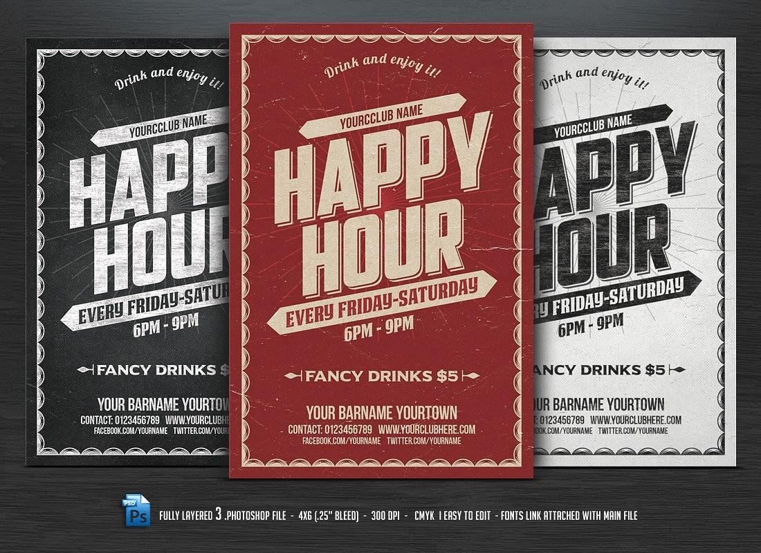 Happy Hour Flyer Template Free Luxury Happy Hour Flyer Flyer Templates Creative Market