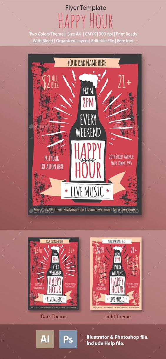 Happy Hour Flyer Template Free Luxury Happy Hour Flyer Template