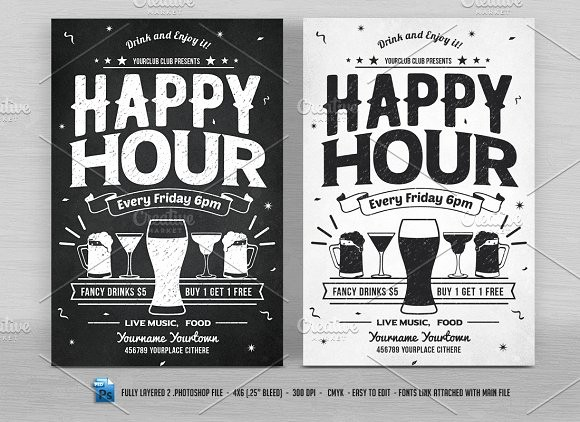 Happy Hour Flyer Template Free Luxury Happy Hour Flyers Flyer Templates Creative Market