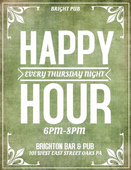 Happy Hour Flyer Template Free Luxury Happy Hour Template