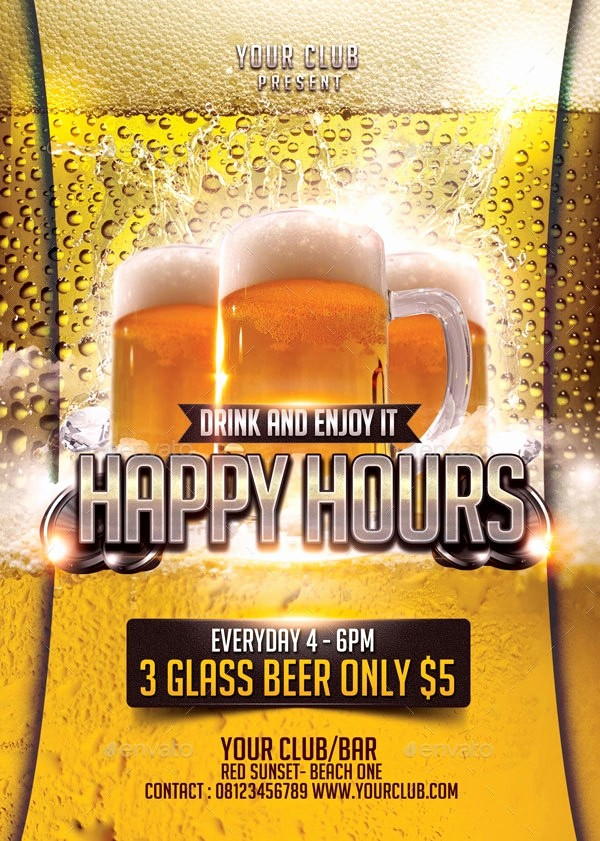 Happy Hour Flyer Template Free New 23 Happy Hour Flyer Templates Psd Vector Eps Jpg