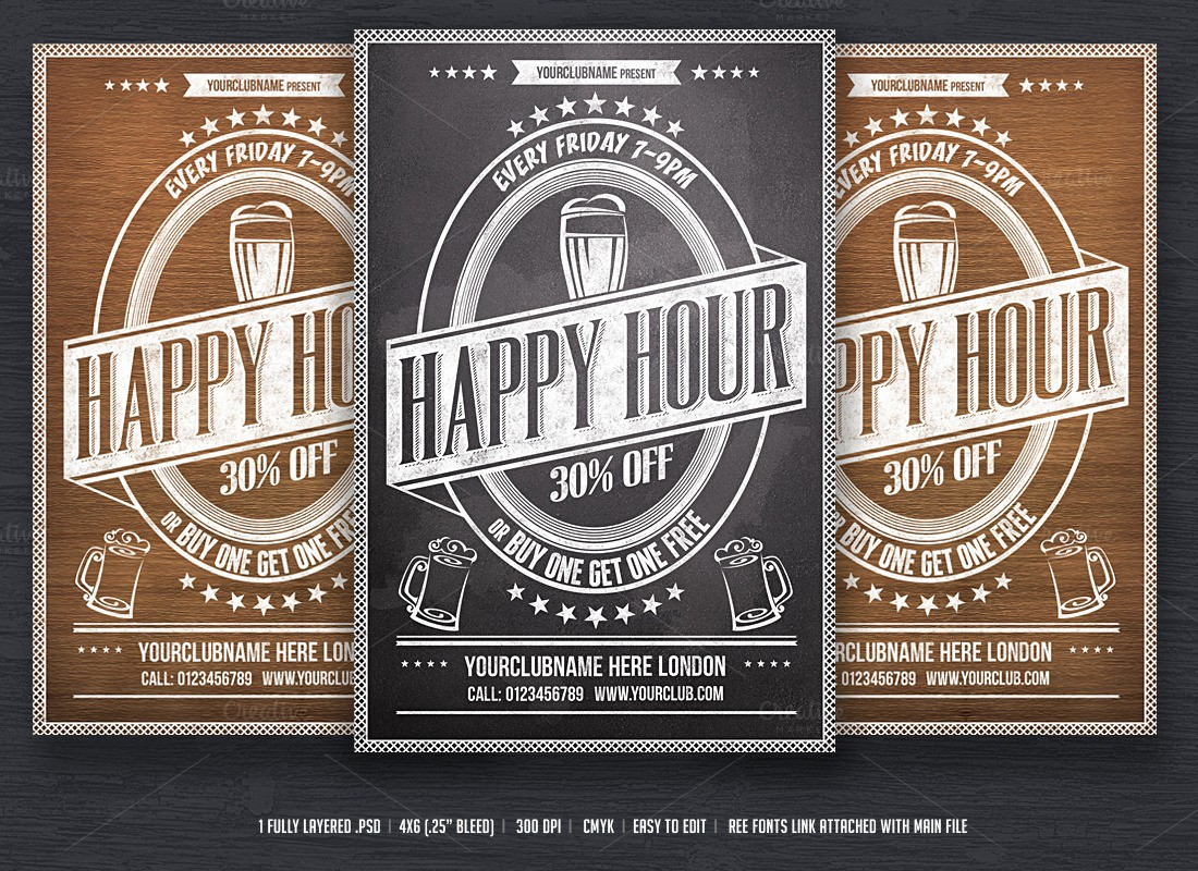 Happy Hour Flyer Template Free New Happy Hour Flyer Template Flyer Templates On Creative Market