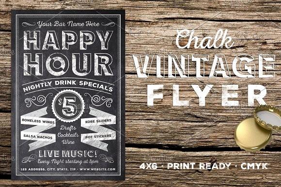 Happy Hour Flyer Template Free Unique Chalk Vintage Happy Hour Flyer Flyer Templates