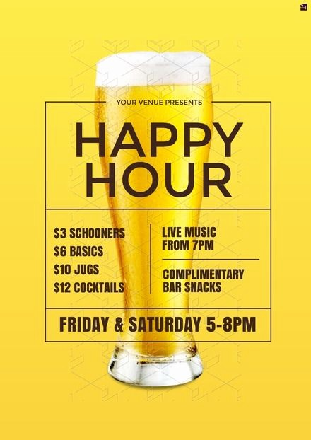 Happy Hour Flyer Template Free Unique Design Template Happy Hour Poster Our Professionally
