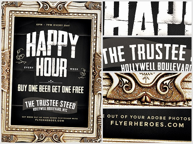 Happy Hour Flyer Template Free Unique Framed Happy Hour Flyer Template Flyerheroes