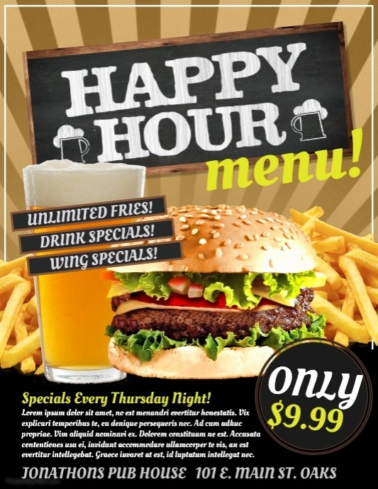 Happy Hour Flyer Template Free Unique Happy Hour Template