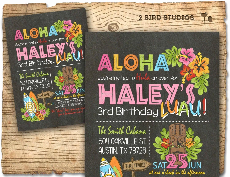 Hawaiian Party Invitation Template Free Awesome Hawaiian Birthday Invitation Luau Birthday Invitation