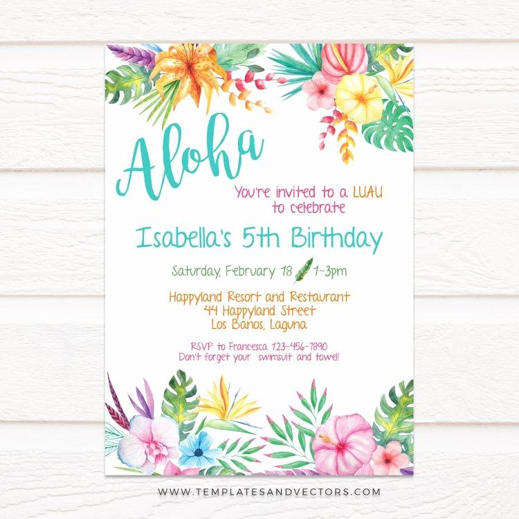 Hawaiian Party Invitation Template Free Beautiful Aloha Hawaiian Party Birthday Invitation Diy Printable