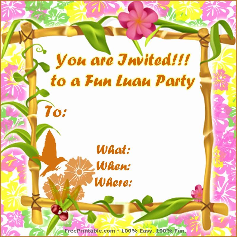 Hawaiian Party Invitation Template Free Beautiful Free Luau Invitations Templates Party Xyz