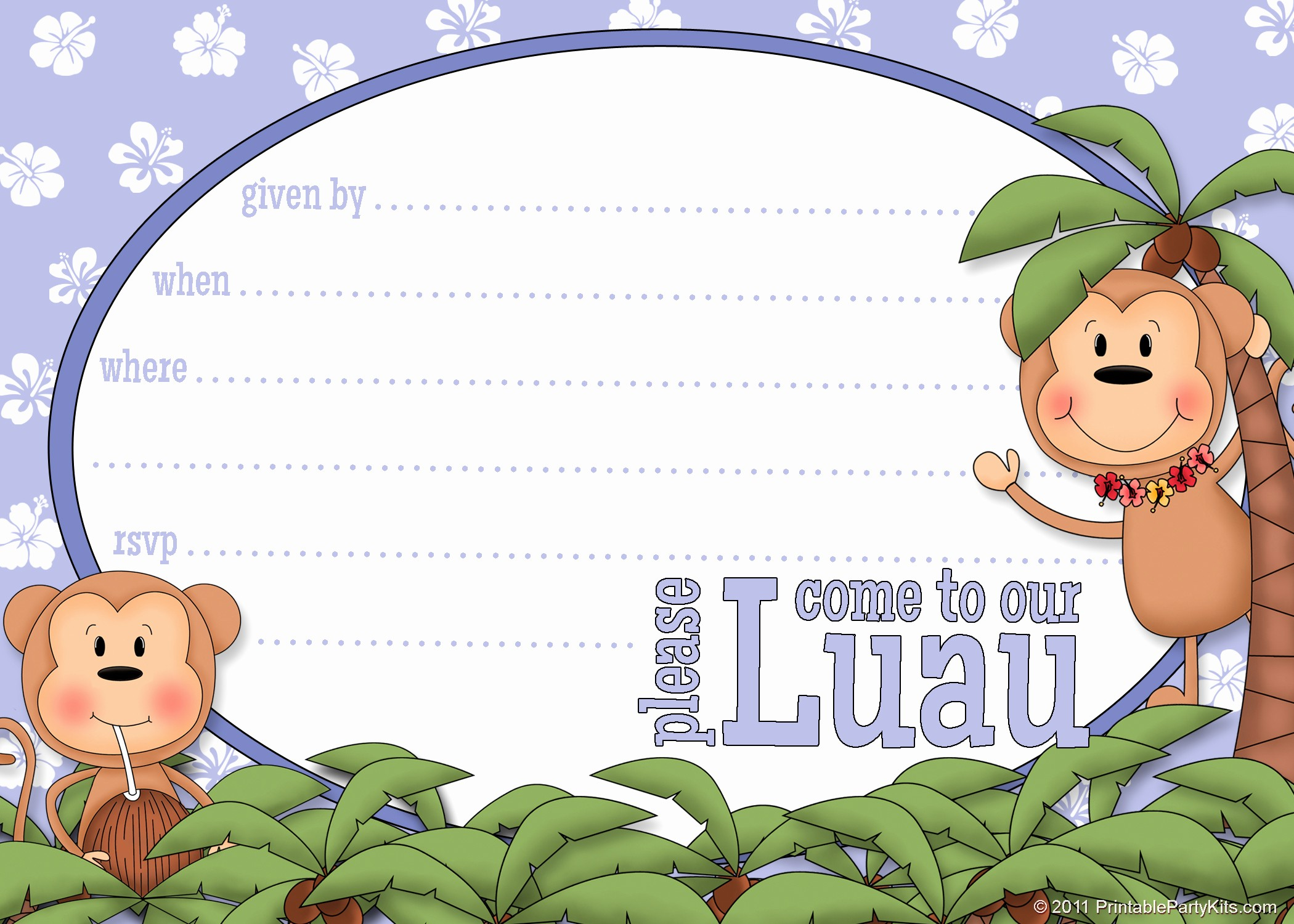 Hawaiian Party Invitation Template Free Best Of Printable Luau Invitation Clipart Clipart Suggest