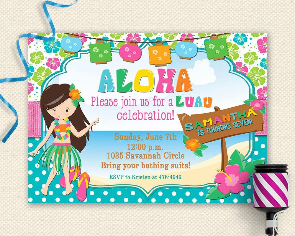 Hawaiian Party Invitation Template Free Elegant 20 Luau Birthday Invitations Designs