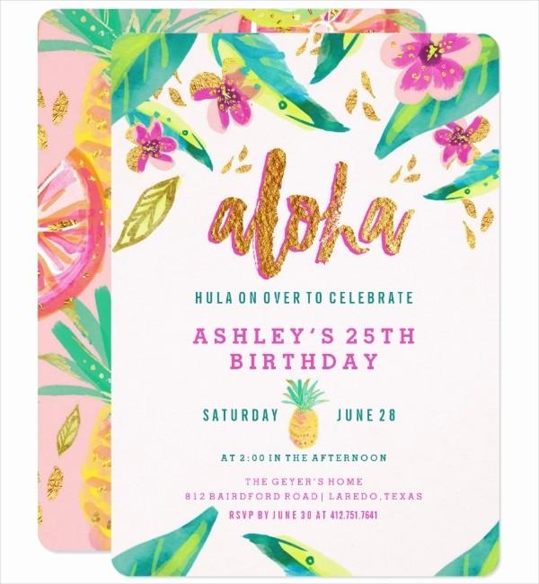 Hawaiian Party Invitation Template Free Fresh 14 Luau Invitation Designs & Templates Psd Ai