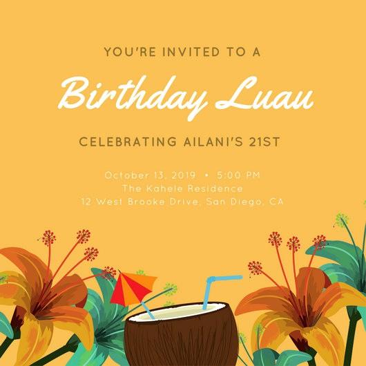 Hawaiian Party Invitation Template Free Fresh Customize 102 Luau Invitation Templates Online Canva
