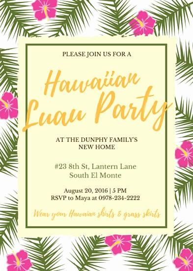 Hawaiian Party Invitation Template Free Fresh Hawaiian theme Party Invitation Templates by Canva