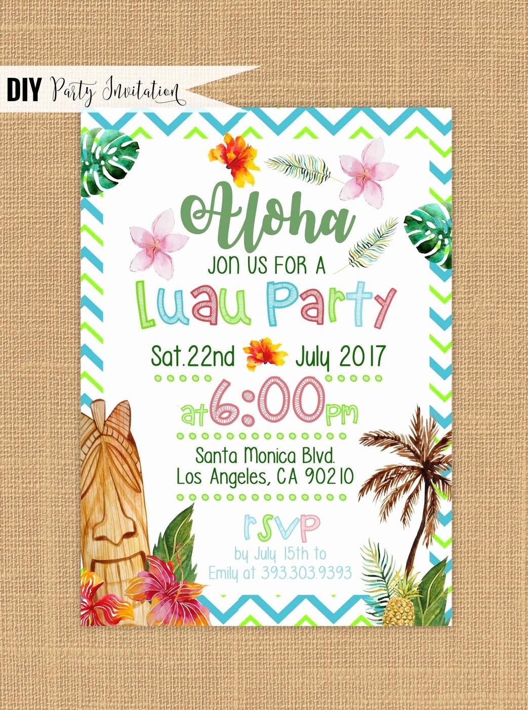 Hawaiian Party Invitation Template Free Fresh Luau Invitation Printable Luau Birthday Invitations